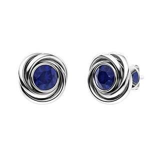 2.06 CTW Sapphire Studs Earrings 14K White Gold