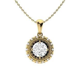 1.02 ctw White & Black Diamond Necklace 18K Yellow Gold