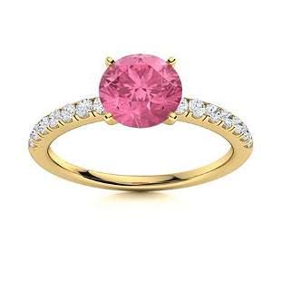 Natural 1.66 CTW Tourmaline & Diamond Engagement Ring