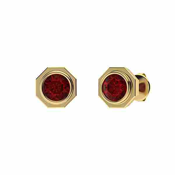 2.46 CTW Garnet Studs Earrings 18K Yellow Gold