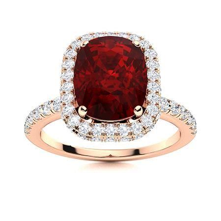 Natural 3.30 CTW Garnet & Diamond Engagement Ring 18K