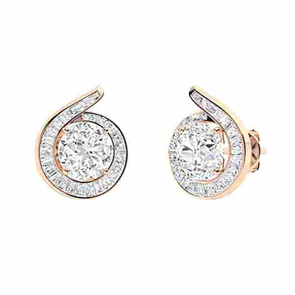 1.92 CTW White Topaz & Diamond Halo Earrings 18K Rose