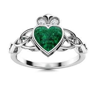 Natural 0.96 CTW Emerald & Diamond Engagement Ring 18K