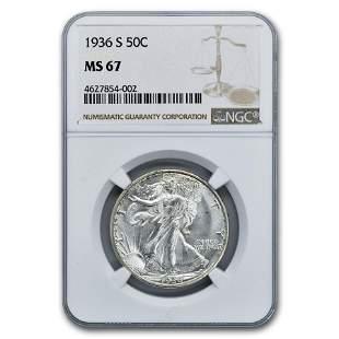 1936-S Walking Liberty Half Dollar MS-67 NGC