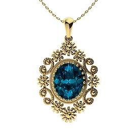 4.04 ctw London Blue Topaz Necklace 14K Yellow Gold