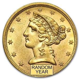 $5 Liberty Gold Half Eagle AU (Random Year)