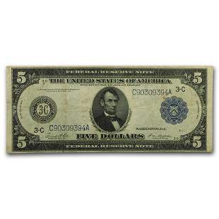 1914 (C-Philadelphia) $5.00 FRN Fine+ (Fr#855A)