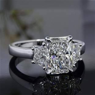 Natural 3.52 CTW Radiant Cut 3-Stone Diamond Engagement