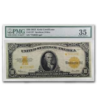 1922* $10 Gold Certificate VF-35 PMG (Fr#1173*) Star