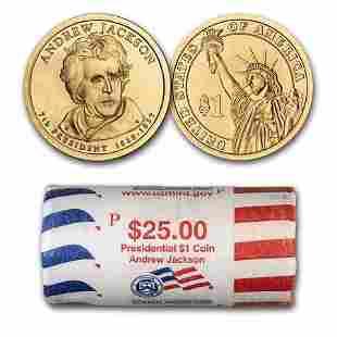 2008-P Andrew Jackson 25-Coin Presidential Dollar Roll
