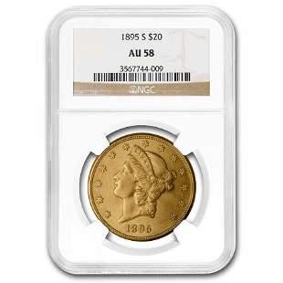 1895-S $20 Liberty Gold Double Eagle AU-58 NGC