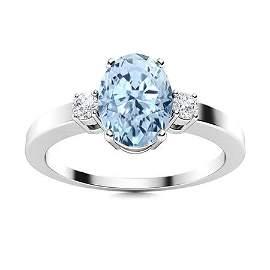 Natural 3.22 CTW Aquamarine & Diamond Engagement Ring