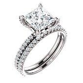 Natural 2.72 CTW Under-Halo Princess Cut Diamond Ring