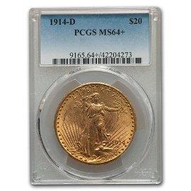 1914-D $20 Saint-Gaudens Gold Double Eagle MS-64+ PCGS