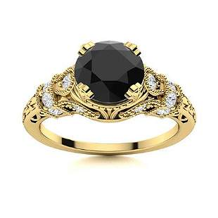 Natural 0.96 CTW Black & White Diamond Engagement Ring