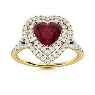 Natural 1.39 CTW Ruby & Diamond Engagement Ring 18K
