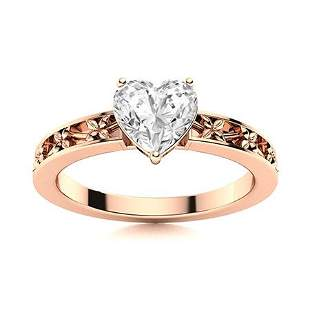 Natural 0.77 CTW Diamond Solitaire Ring 18K Rose Gold