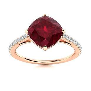Natural 2.42 CTW Ruby & Diamond Engagement Ring 18K