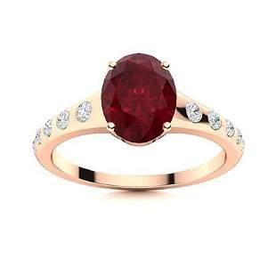 Natural 2.04 CTW Ruby & Diamond Engagement Ring 14K