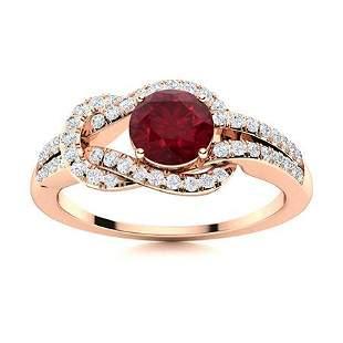 Natural 1.10 CTW Ruby & Diamond Engagement Ring 18K
