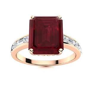Natural 6.68 CTW Ruby & Diamond Engagement Ring 14K
