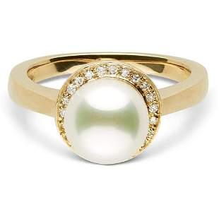 White Akoya Pearl and Diamond Halo Ring