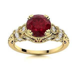 Natural 1.66 CTW Ruby & Diamond Engagement Ring 18K