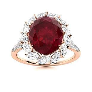 Natural 4.90 CTW Ruby & Diamond Engagement Ring 14K
