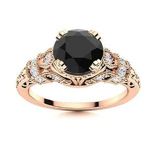 Natural 0.95 CTW Black & White Diamond Engagement Ring