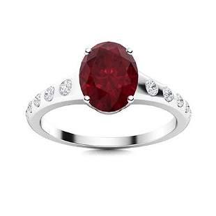 Natural 2.05 CTW Ruby & Diamond Engagement Ring 18K