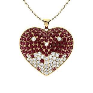 2.3 ctw Ruby & Diamond Necklace 18K Yellow Gold