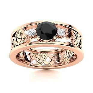 Natural 0.52 CTW Black Diamond Solitaire Ring 14K Rose