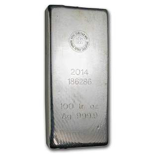 100 oz Silver Bar - Royal Canadian Mint (2014/.9999