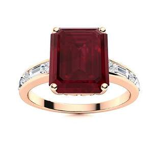 Natural 5.93 CTW Ruby & Diamond Engagement Ring 14K