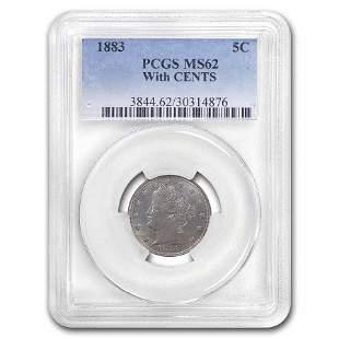 1883 Liberty Head V Nickel w/Cents MS-62 PCGS