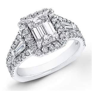Natural 3.12 CTW Halo Emerald Cut Diamond Ring 18KT