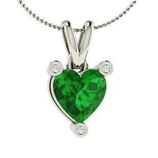 1.53 ctw Emerald & Diamond Necklace 14K White Gold