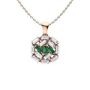 0.47 ctw Emerald & Diamond Necklace 18K Rose Gold