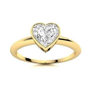 Natural 0.77 CTW Diamond Solitaire Ring 18K Yellow Gold