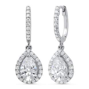 Natural 1.56 CTW Pear Dangling U-Pave Lever Back Halo