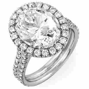 Natural 2.92 CTW Halo Oval Cut Diamond Engagement Ring