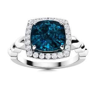Natural 2.64 CTW Topaz & Diamond Engagement Ring 18K