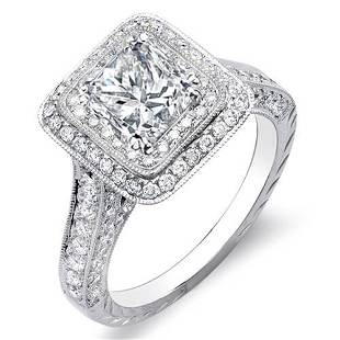 Natural 3.32 CTW Princess Cut Double Halo Diamond