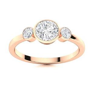 Natural 0.81 CTW Diamond Solitaire Ring 14K Rose Gold