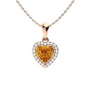 0.77 ctw Citrine & Diamond Necklace 18K Rose Gold