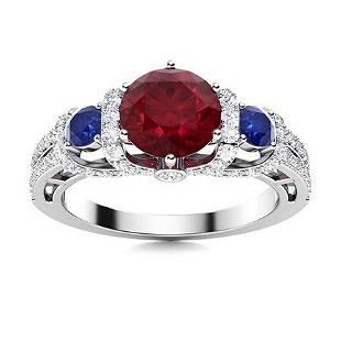 Natural 2.17 CTW Ruby, Sapphire & Diamond Engagement