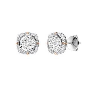 3.09 CTW Diamond Halo Earrings 14K White Gold