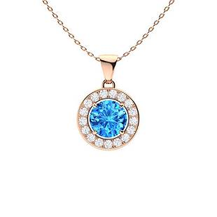 0.56 ctw Topaz & Diamond Necklace 14K Rose Gold