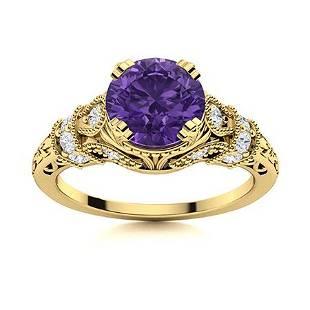 Natural 1.40 CTW Amethyst & Diamond Engagement Ring 18K