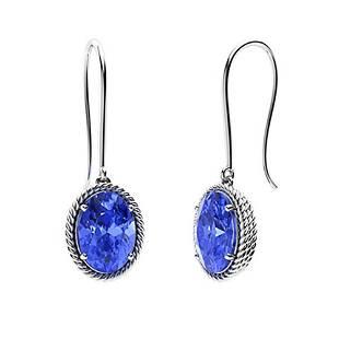 1.94 CTW Ceylon Sapphire Drops Earrings 18K White Gold